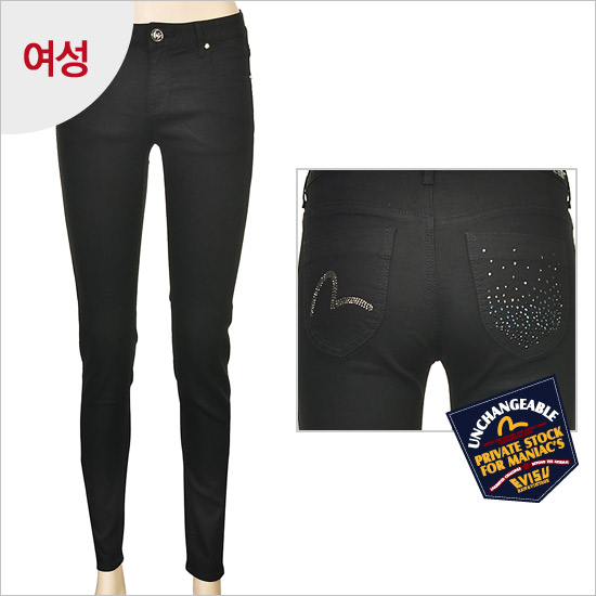 women _ five days relief wash slim denim indigo text